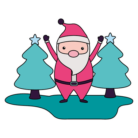 merry christmas cute santa claus hands up trees vector illustration