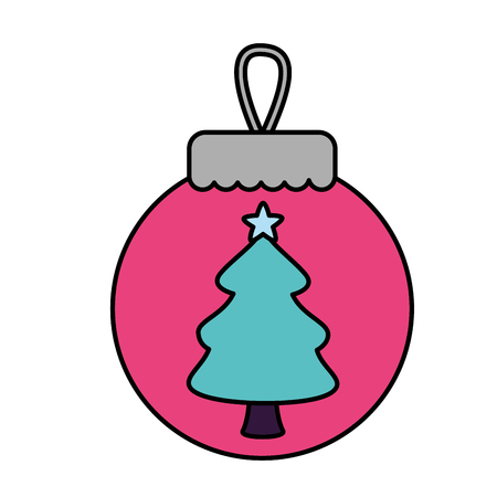 merry christmas pink ball tree vector illustration