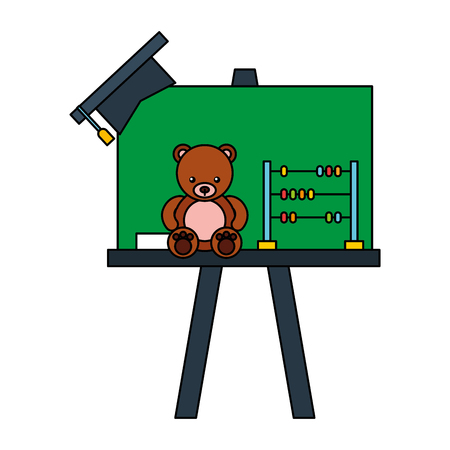 chalkboard bear graduation hat kid toys vector illustration