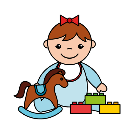 baby girl rocking horse blocks toys vector illustration Ilustração