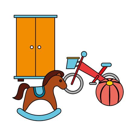 rocking horse bike ball kid toys vector illustration