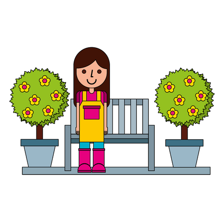 gardener woman sitting on bench trees gardening vector illustration