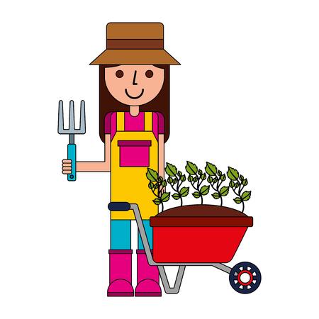 gardener woman with wheel barrow plants gardening vector illustration Ilustracja
