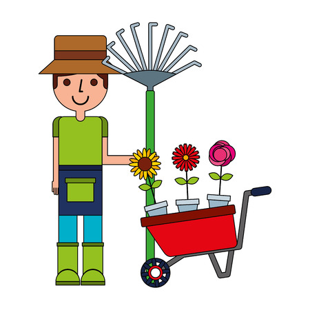 gardener man rack and flowers gardening vector illustration Ilustracja