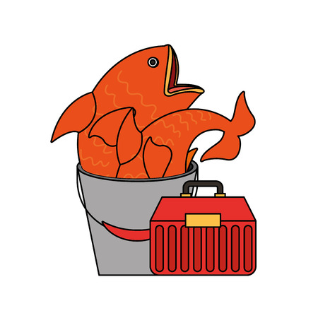 bucket fishes and toolbox supply equipment fishing vector illustration