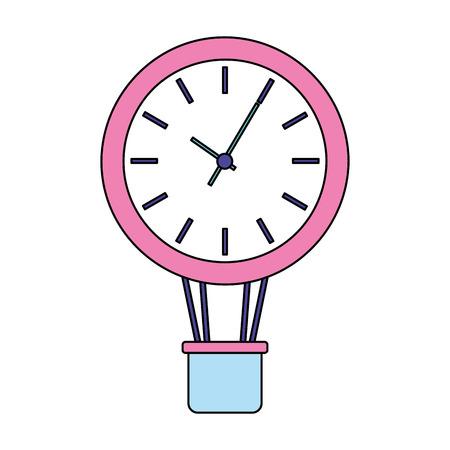 business clock in air balloon basket vector illustration 向量圖像