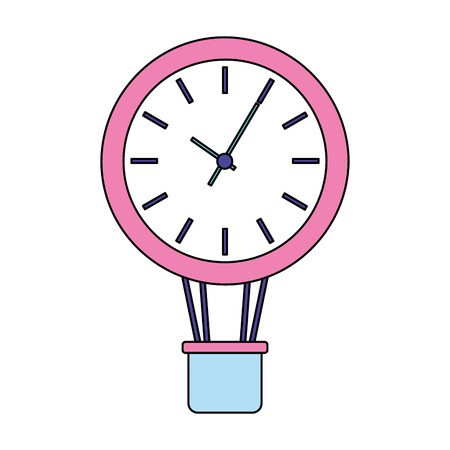 business clock in air balloon basket vector illustration Illustration
