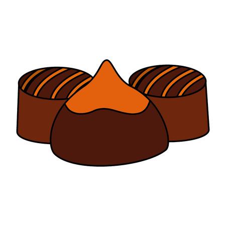 caramel chocolate candy sweet stuffed vector illustration