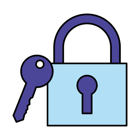 security padlock and key on white background vector illustration