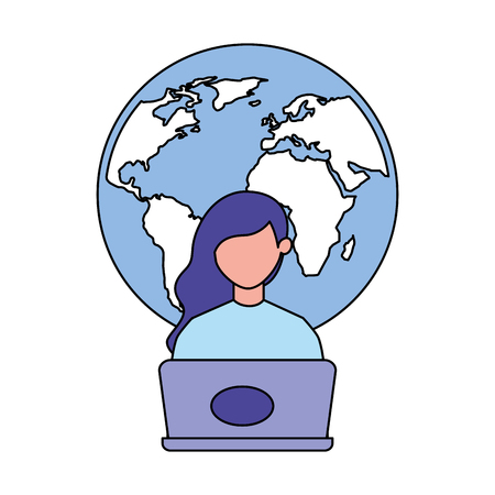 woman using laptop world work vector illustration Illustration
