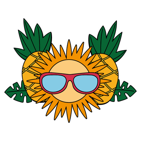 pineapple sun with sunglasses tropical summer vector illustration