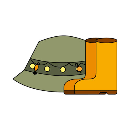 hat rubber boots supply equipment fishing vector illustration