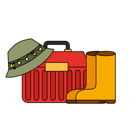 hat rubber boots toolbox supply equipment fishing vector illustration Illustration