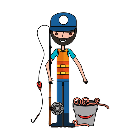 fisherman with rod and worms in bucket vector illustration Çizim