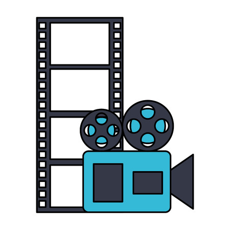 projector and strip cinema film movie vector illustration