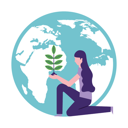 volunteers help world woman planting natural vector illustration 일러스트