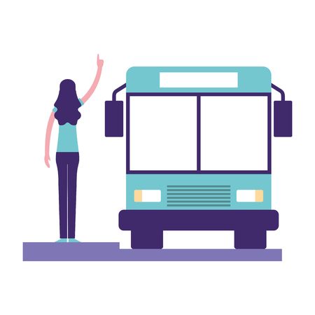 volunteers help autobus stop woman waiting vector illustration Illustration