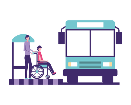 volunteers help autobus stop woman carry blind person vector illustration