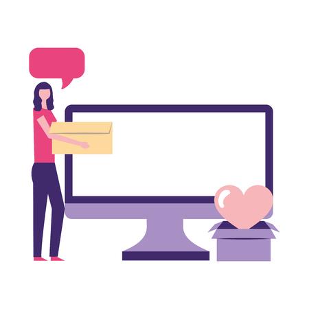 volunteers help woman charity donate computer vector illustration Illusztráció