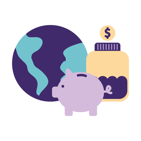help world piggy bottle money donation vector ilustration Ilustracja