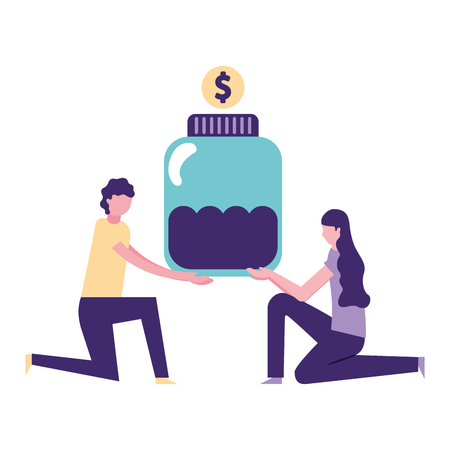 volunteers help man and woman hold bottle money donate vector illustration