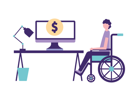 volunteers help office hospital person in wheelchair donate vector illustration