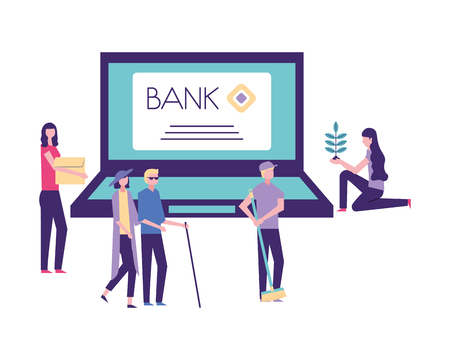 volunteers help bank computer people donations vector illustration