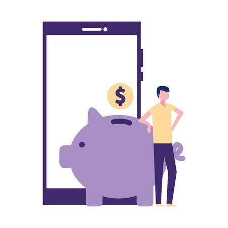 volunteers help man piggy donation smartphone vector illustration