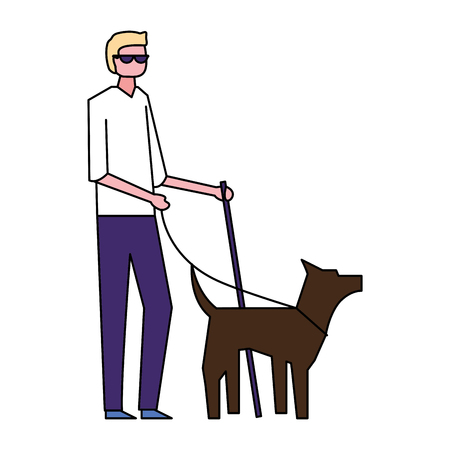 volunteers help cute dog carry blind person vector illustration