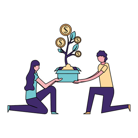 volunteers help woman and man hold plant coins vector illustration