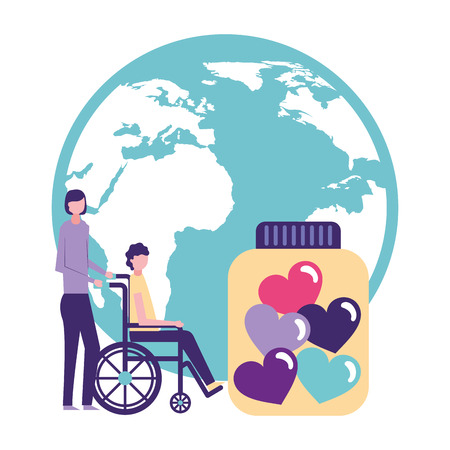 volunteers help world woman carry person wheelchair donation love vector illustration