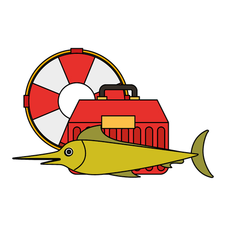 fishing fish tool box and lifebuoy vector illustration