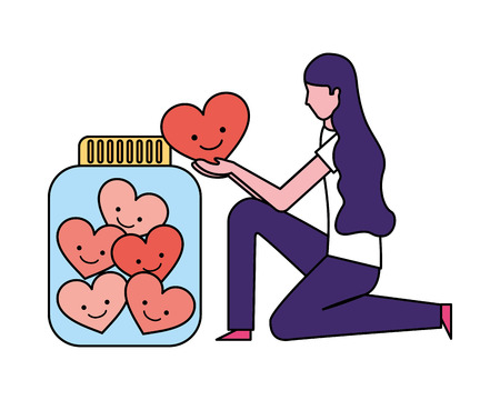 volunteers help woman hold heart bottle vector illustration