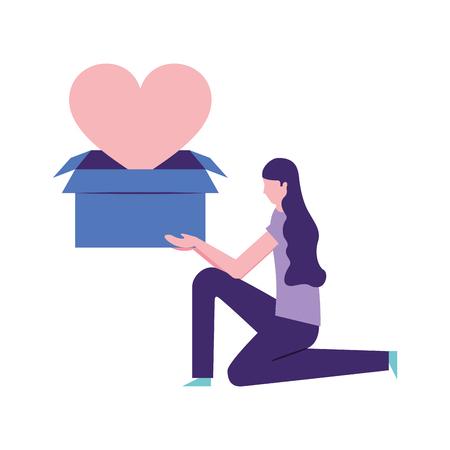 volunteers help girl holding box love heart donate vector illustration