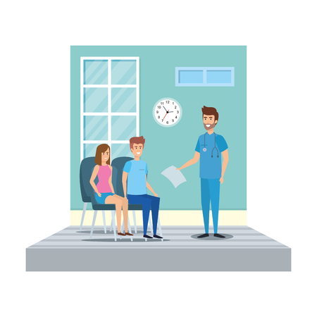 general practitioner in consulting room vector illustration