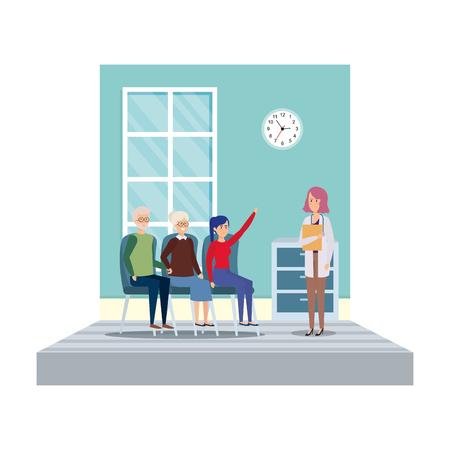 female doctor in consulting room vector illustration design Illustration