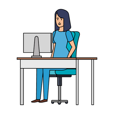 female practitioner in consulting room vector illustration design