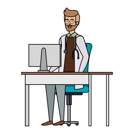 doctor in consulting room vector illustration design Illustration