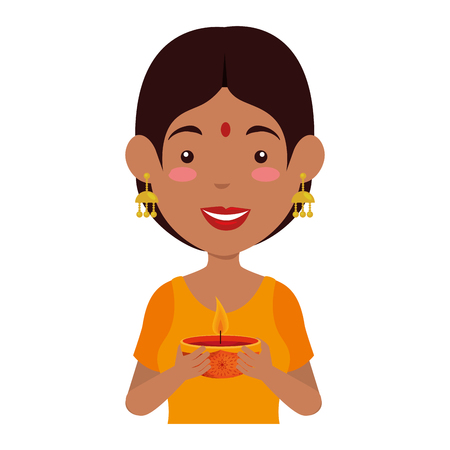 Hindu woman with candle vector illustration design