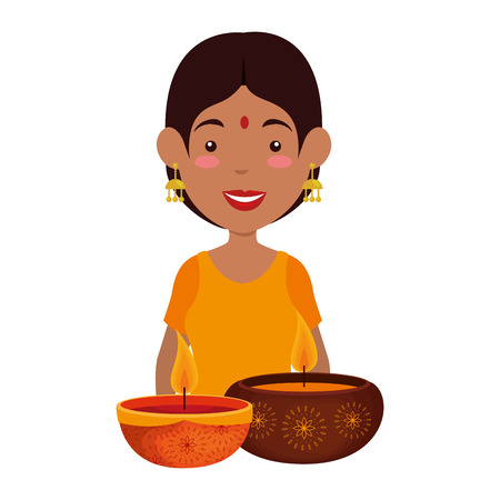 Hindu woman with candles vector illustration design Illustration