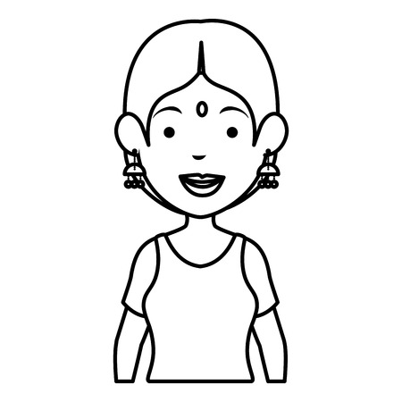 Hindu woman avatar character vector illustration design