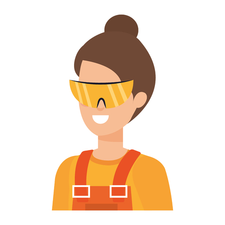 female builder constructor with goggles vector illustration design