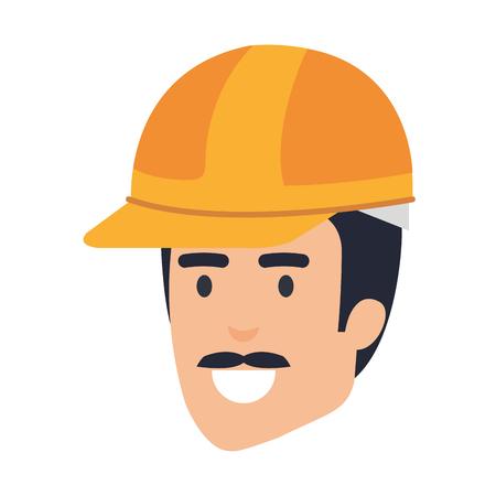 head builder constructor with helmet vector illustration design