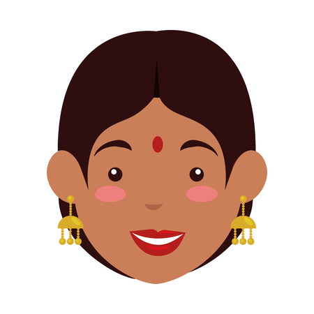 Hindu woman head avatar character vector illustration design