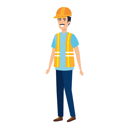builder constructor with helmet vector illustration design