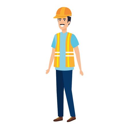 builder constructor with helmet vector illustration design