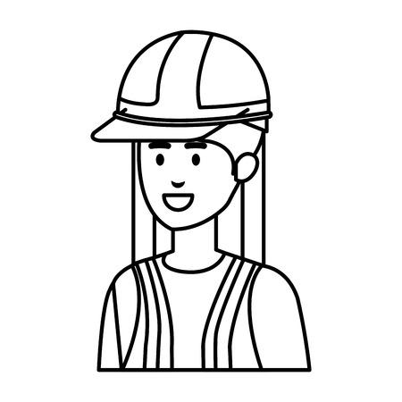female builder constructor with helmet vector illustration design