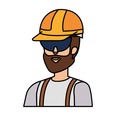 builder constructor with helmet and goggles vector illustration design