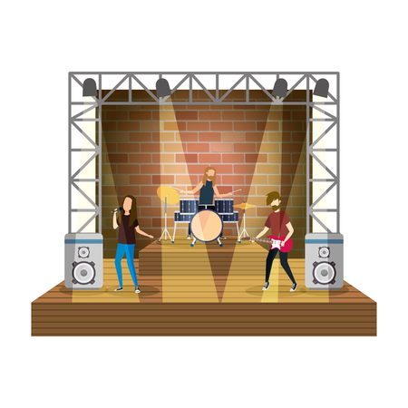 musical duet on stage with lights characters vector illustration design