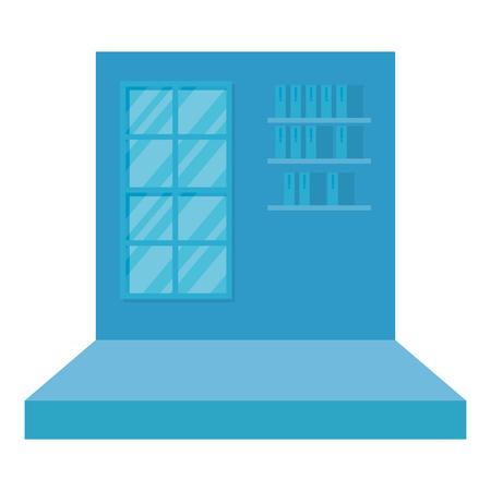 corridor with window scene vector illustration design